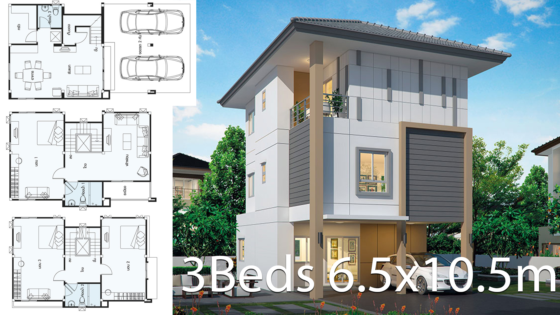 Home design 6.5×10.5m with 3 bedrooms
