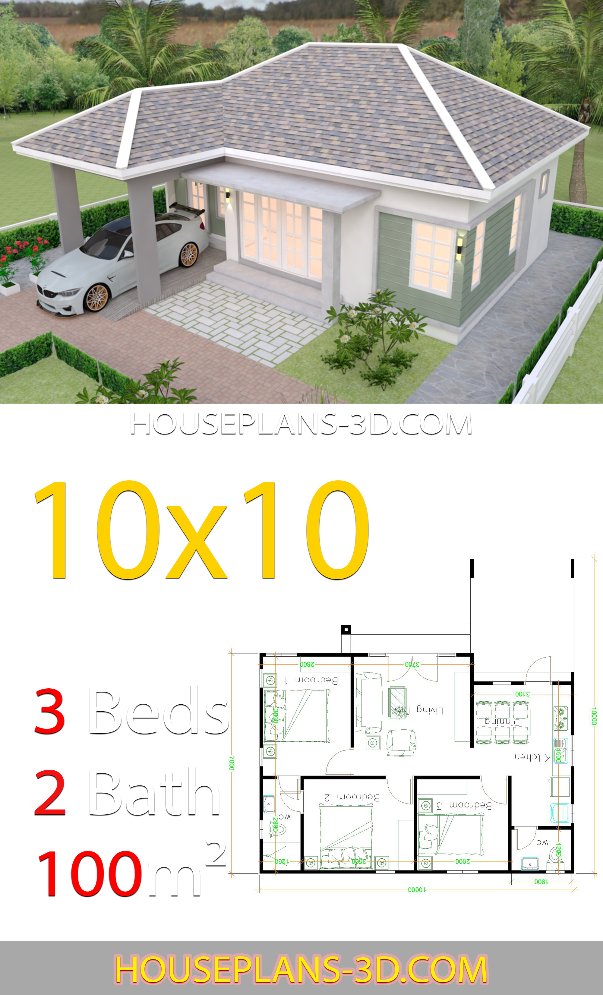 10x10 Room Layout: Interior House Design Plans 10x10 With 3 Bedrooms Full