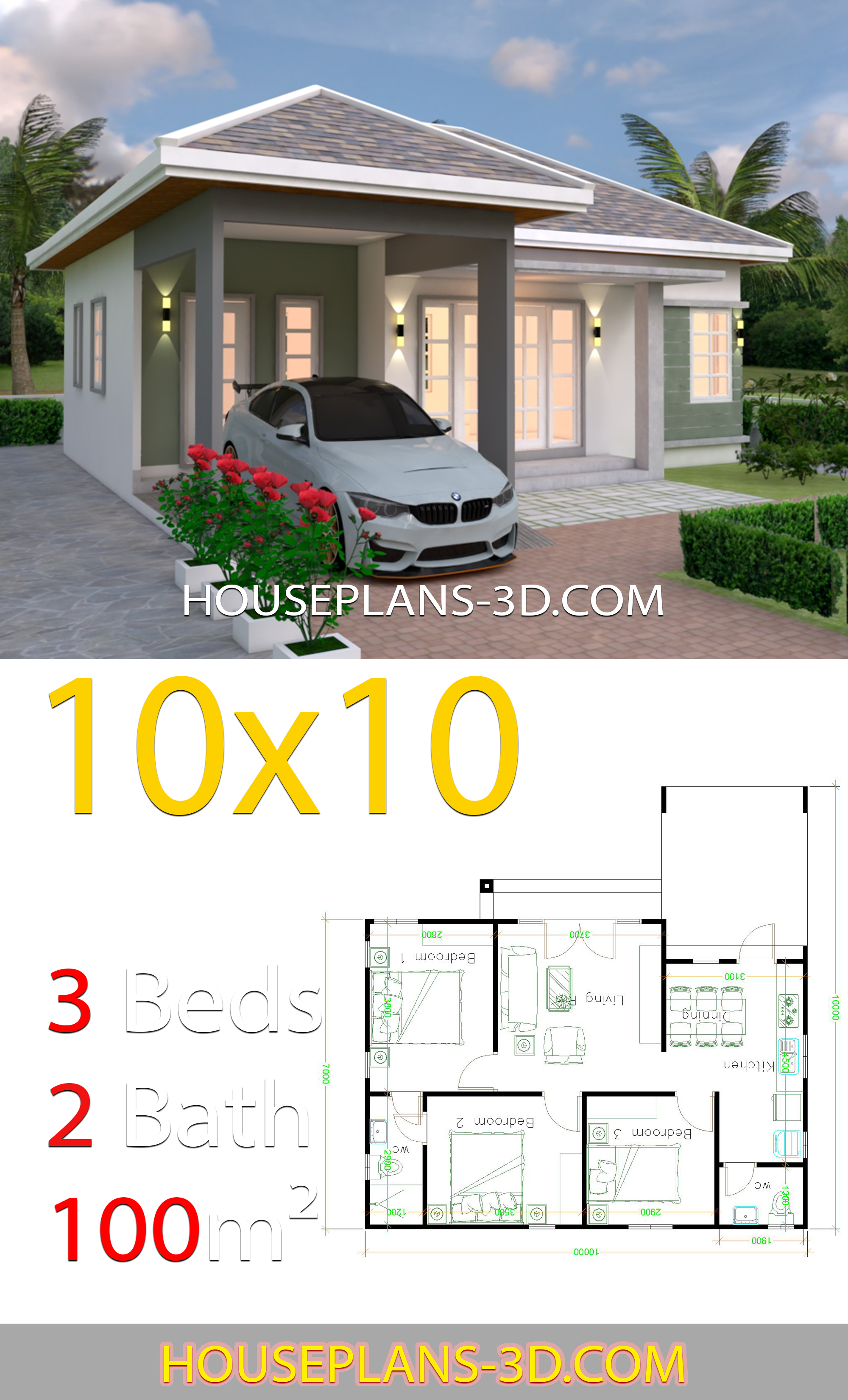10x10 Bedroom Plans: Interior House Design Plans 10x10 With 3 Bedrooms Full