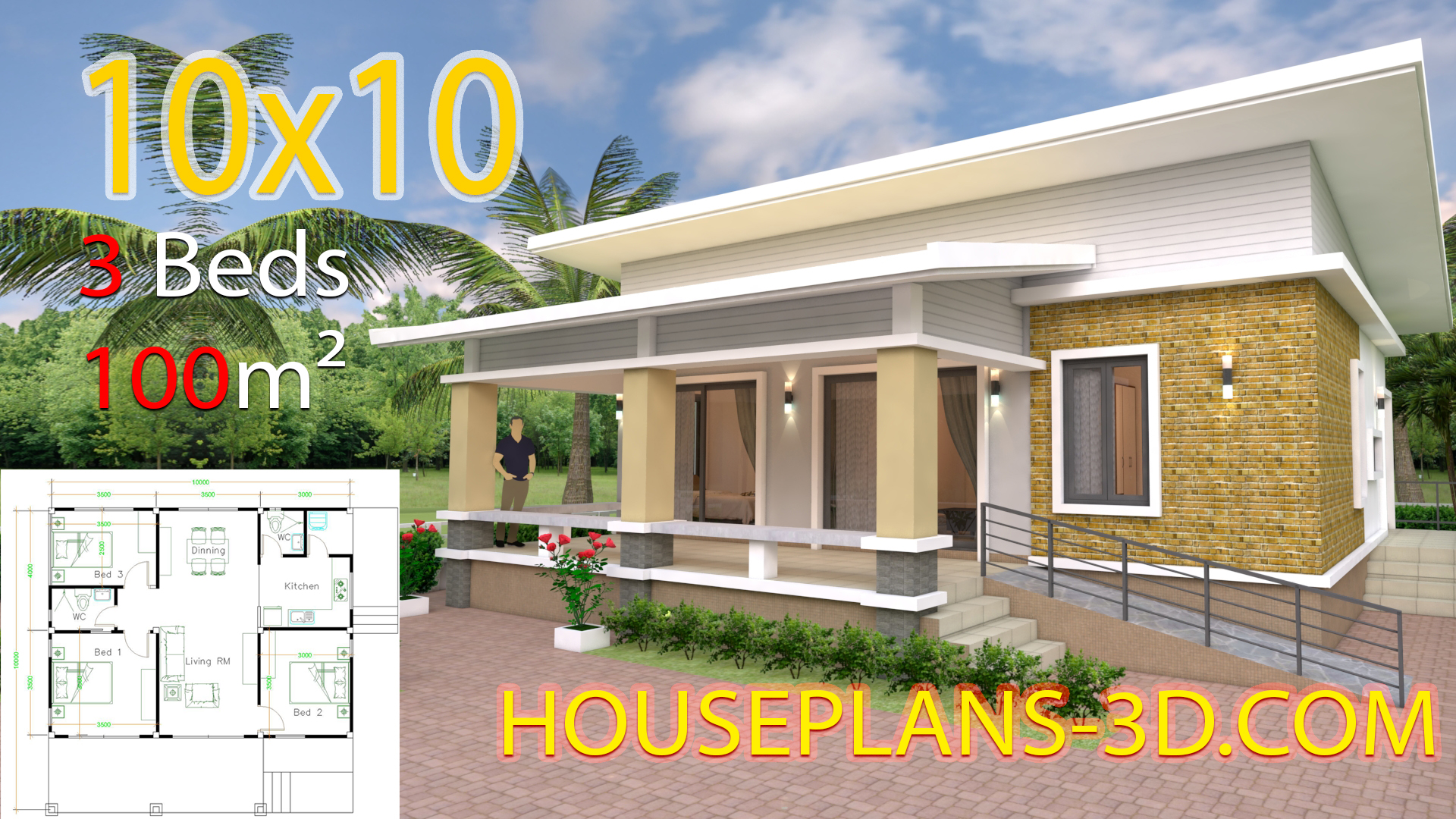 House Design Plans 10x10 with 3 Bedrooms full interior - House ...