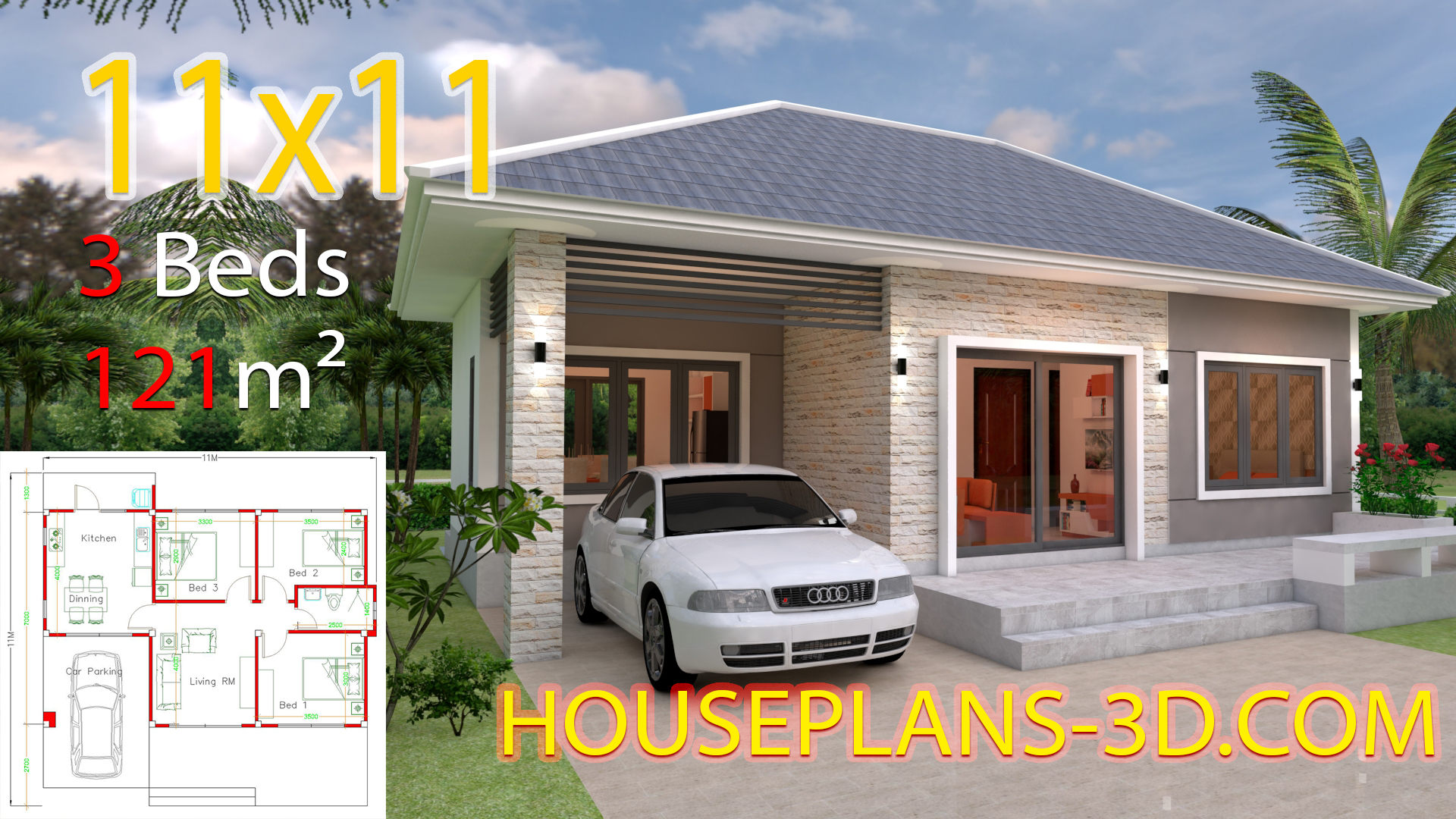 Simple House Design Plans 11x11 with 3 Bedrooms Full Plans - House ...