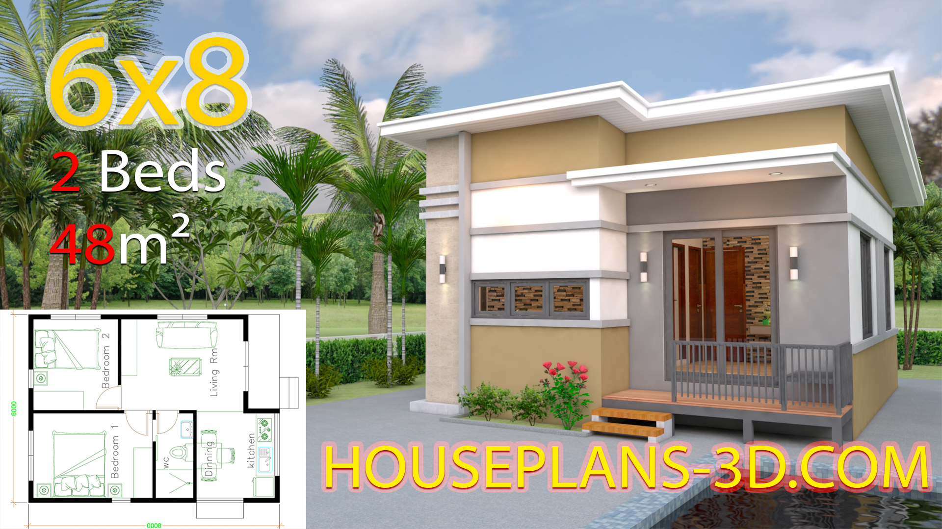 Small House Design Plans 6x8 with 2 Bedrooms - House Plans 3D