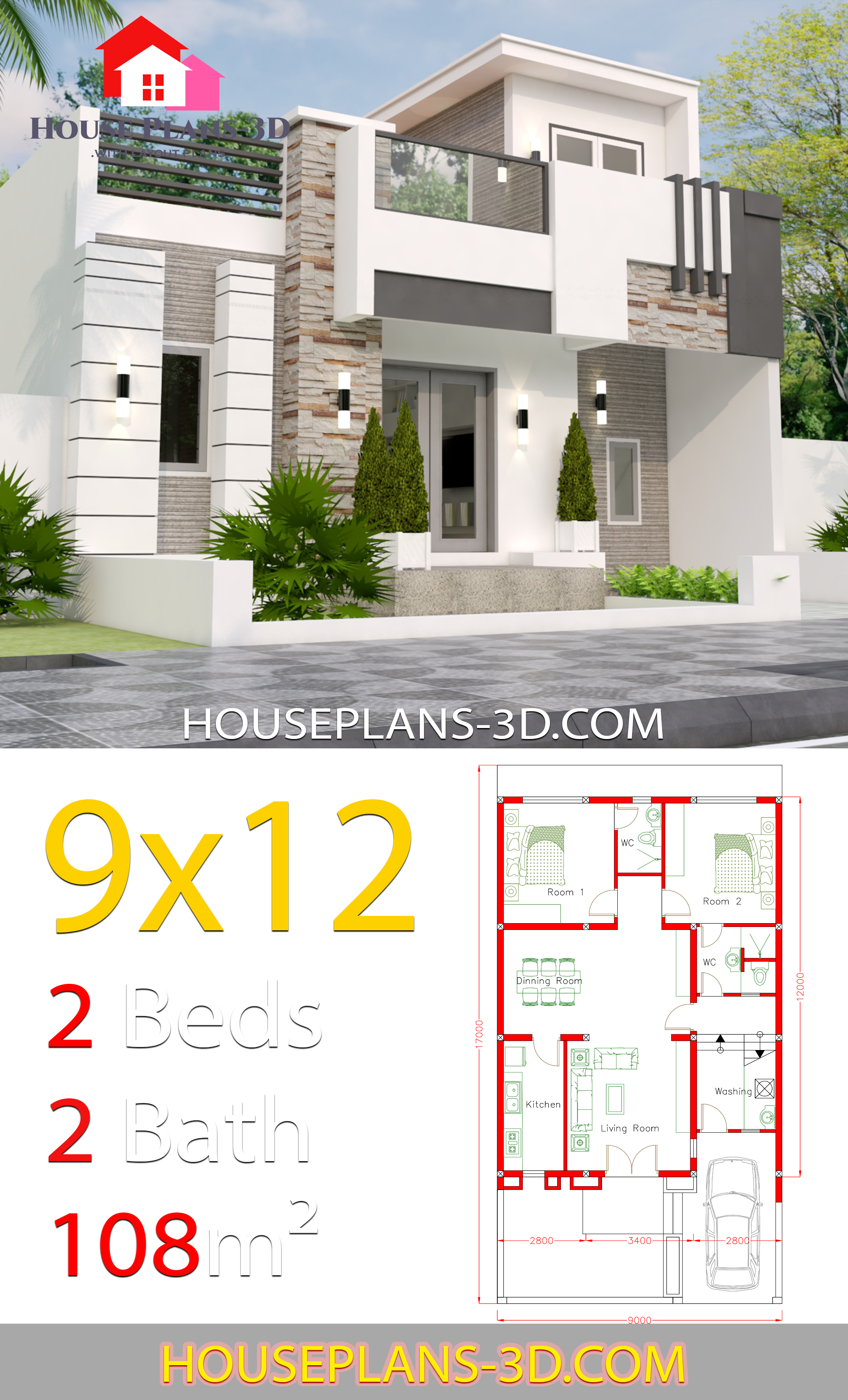 House Design 9x12 With 2 Bedrooms Full Plans House Plans 3d