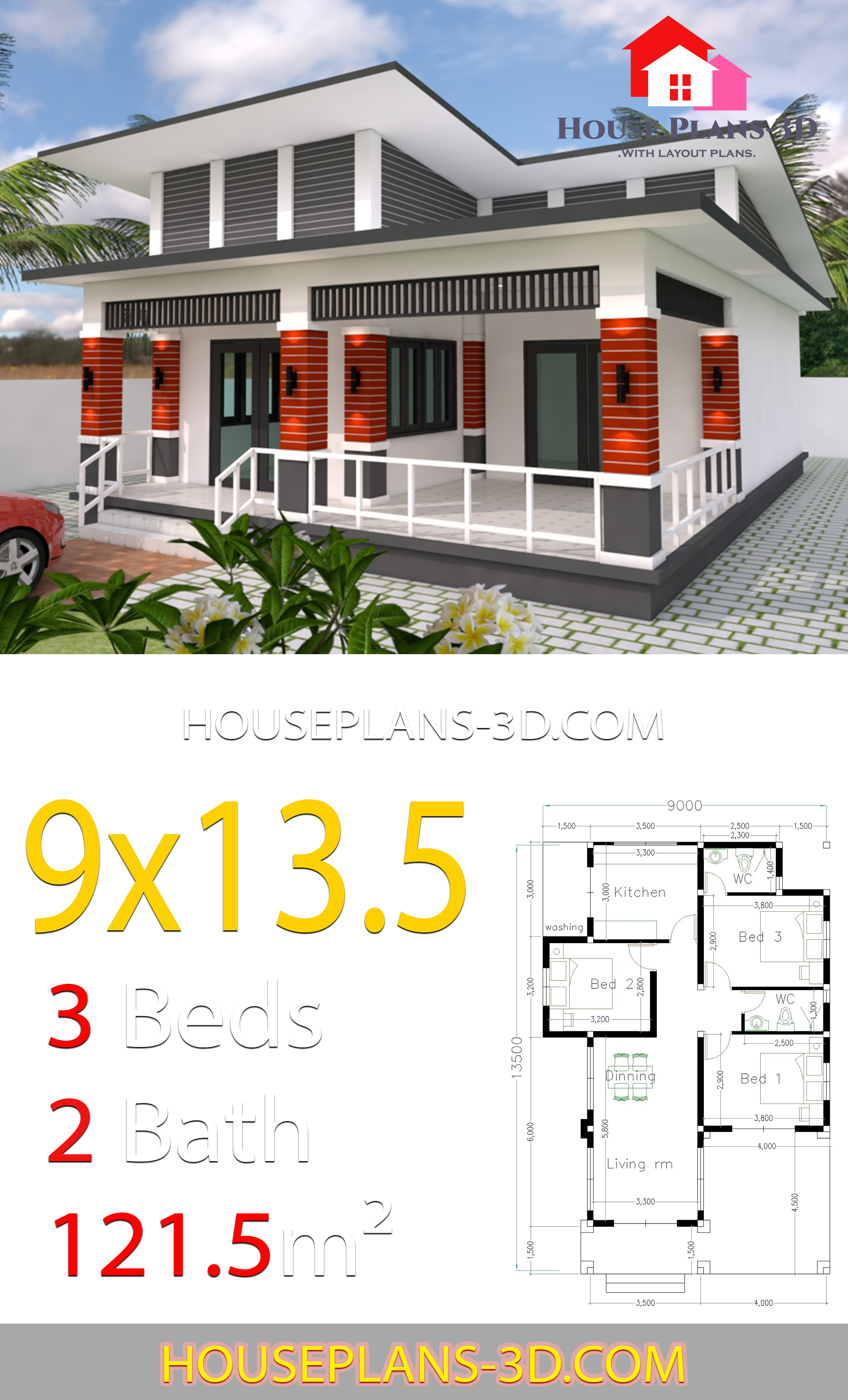 My 3d Room Design: House Design 9x13.5 With 3 Bedrooms Slop Roof