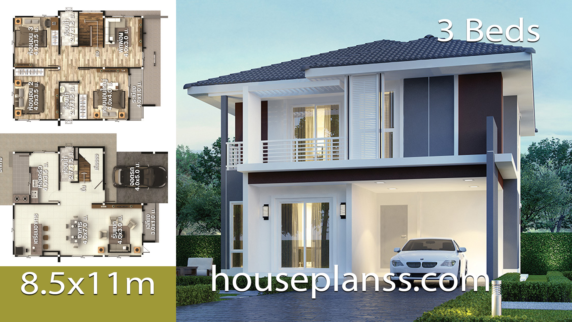 House Plans design Idea 8.5×11 with 3 Bedrooms