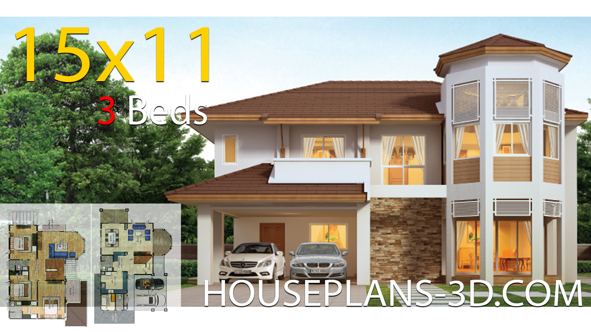 House design 15×11 with 3 Bedrooms