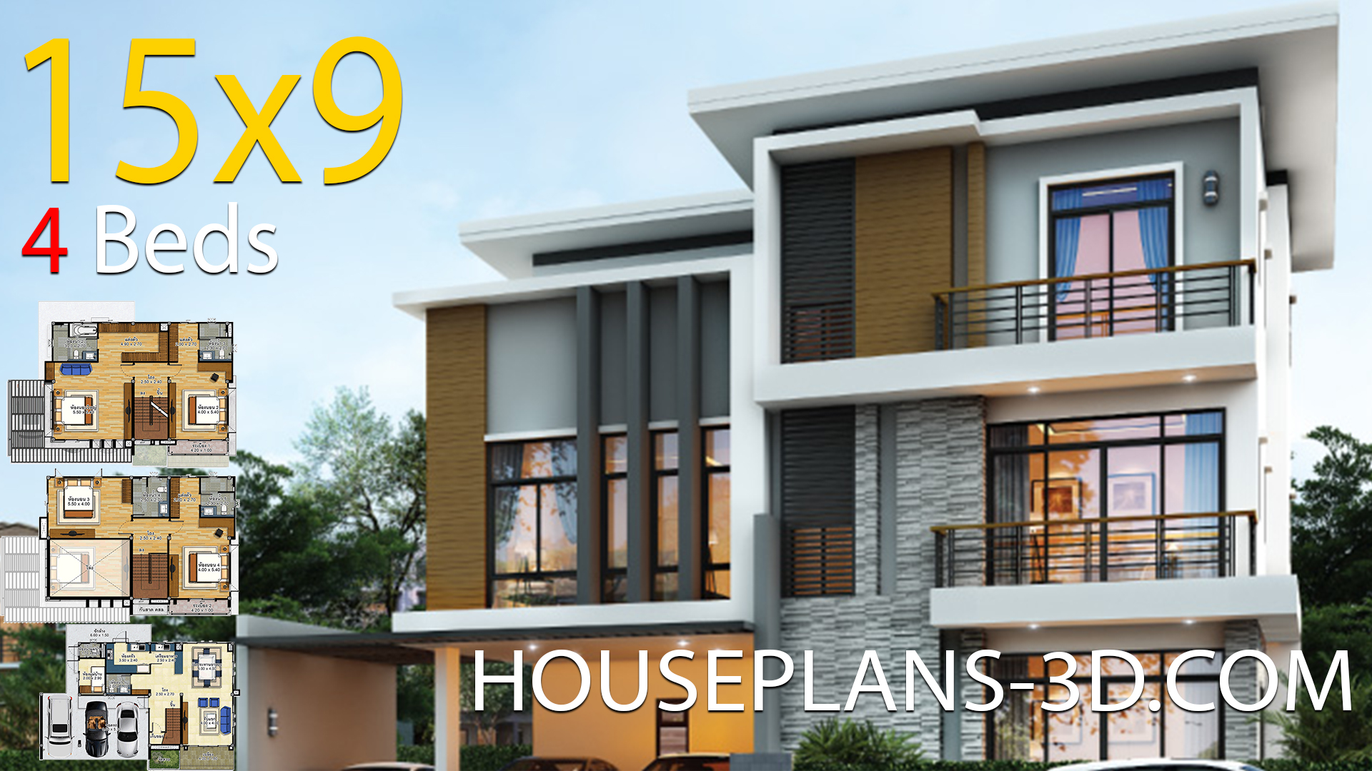 House design 15×9 with 4 Bedrooms