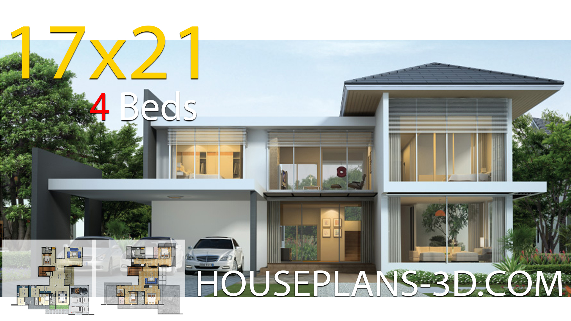 House design 17×21 with 4 Bedrooms