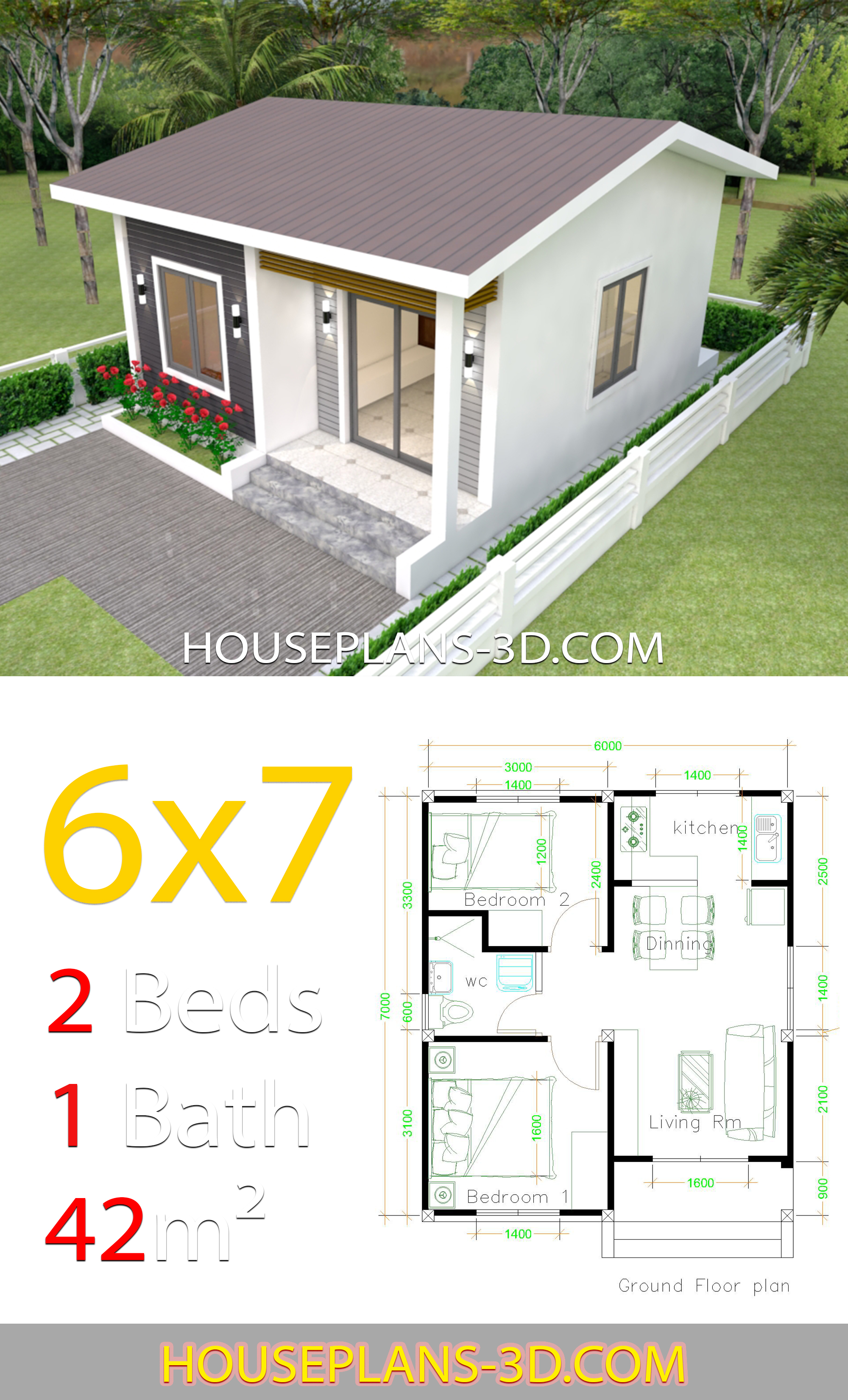 My 3d Room Design: House Design 6x7 With 2 Bedrooms