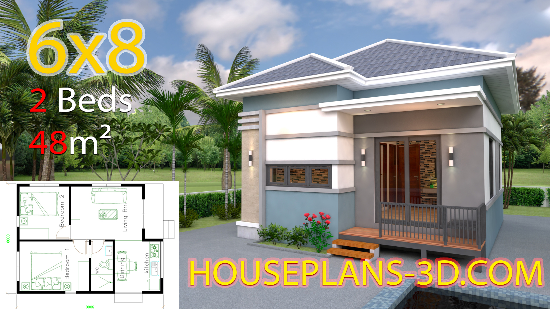 House Design Plans 6x8 with 2 Bedrooms - House Plans 3D