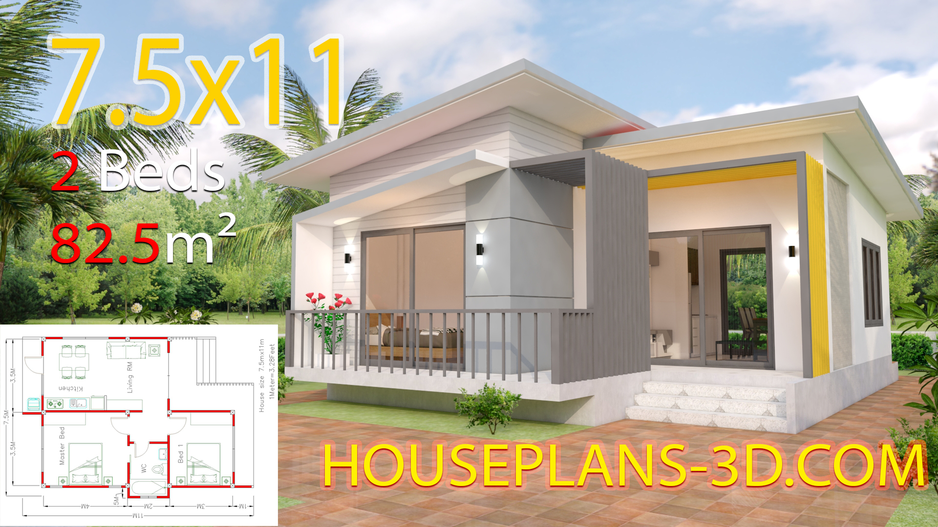 House Plans 7.5x11 with 2 Bedrooms Full plans - House Plans 3D