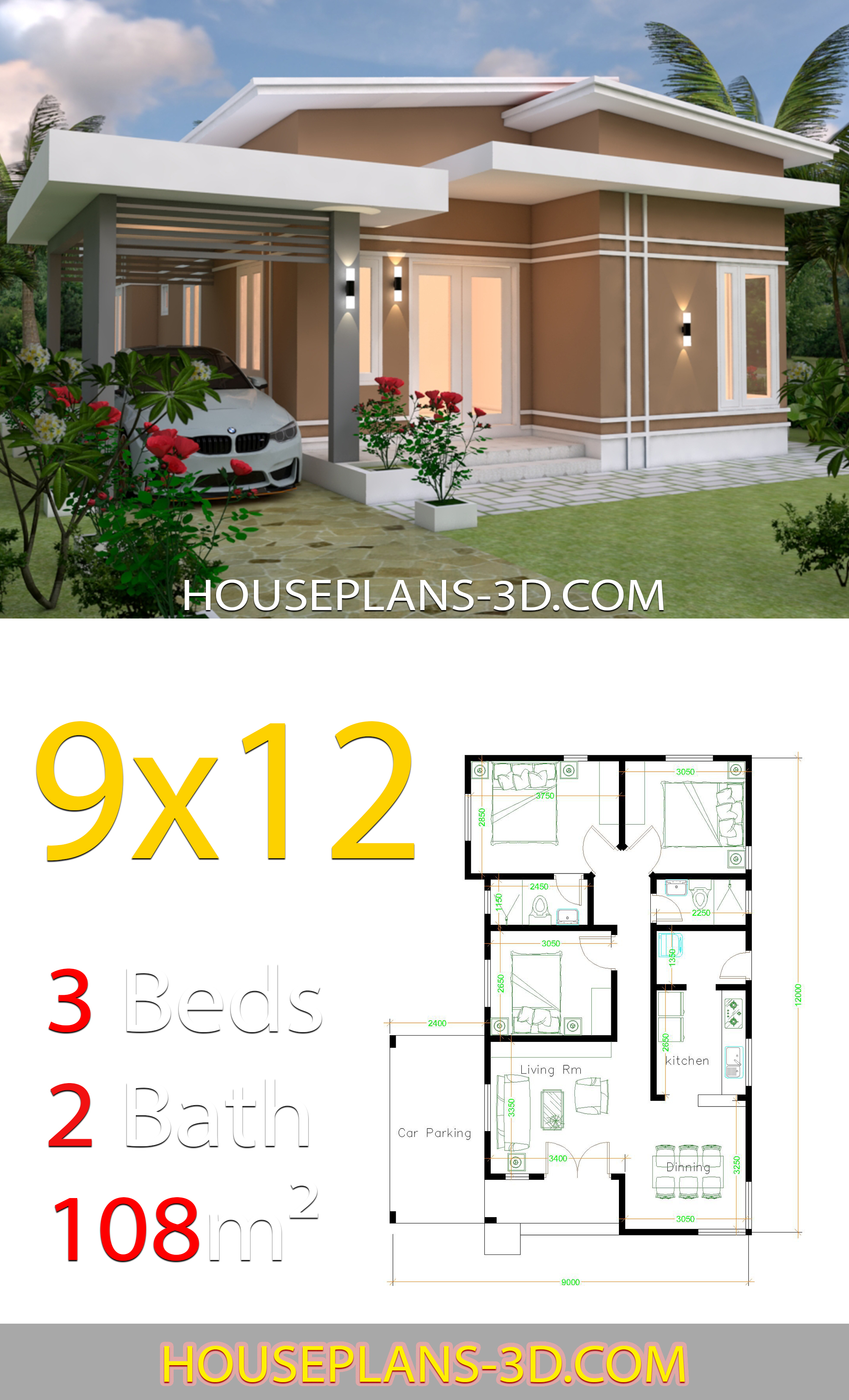 My 3d Room Design: House Design 9x12 With 3 Bedrooms Slop Roof
