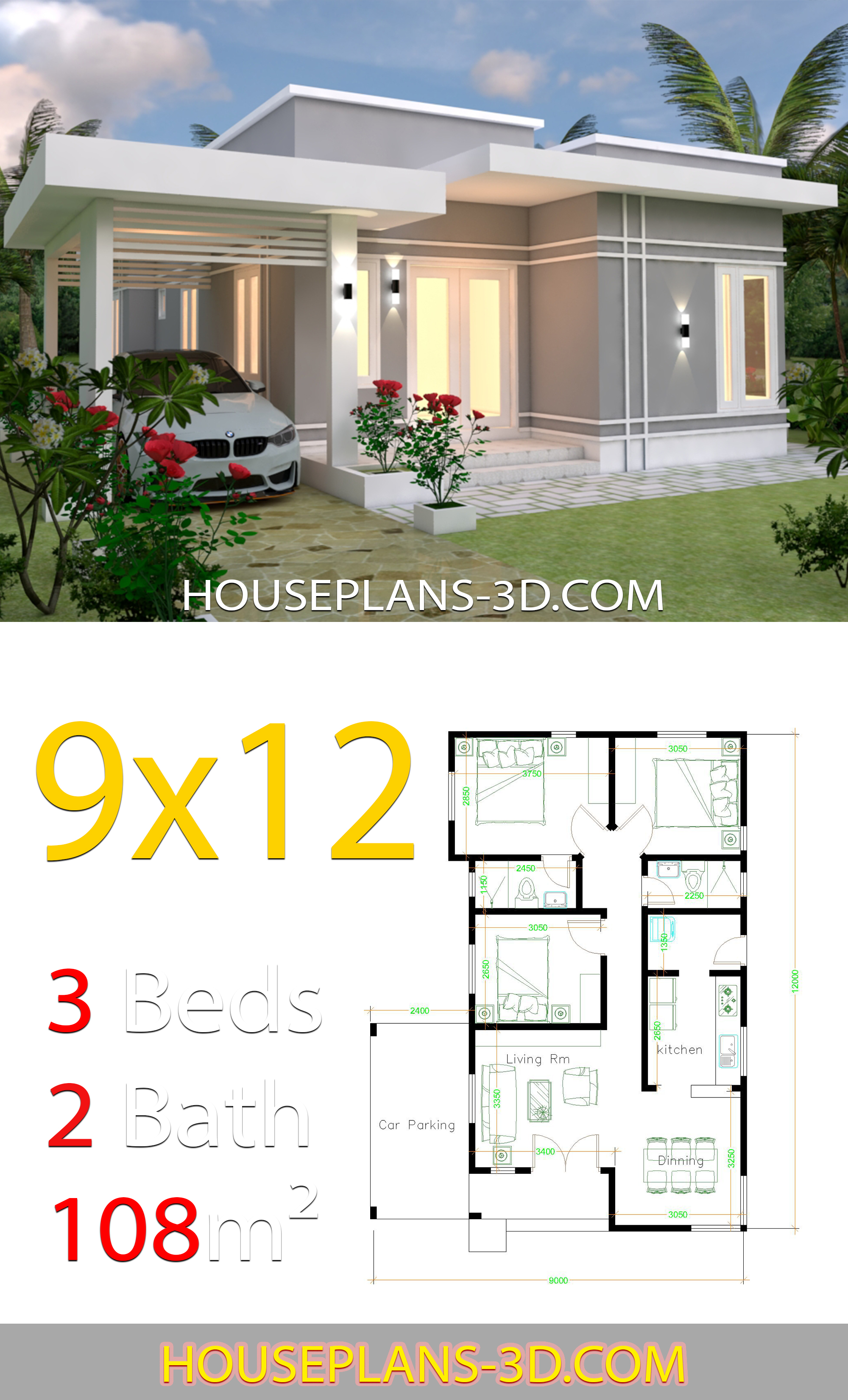 10 X 12 Bedroom Design: House Design Plans 9x12 With 3 Bedrooms Terrace Roof