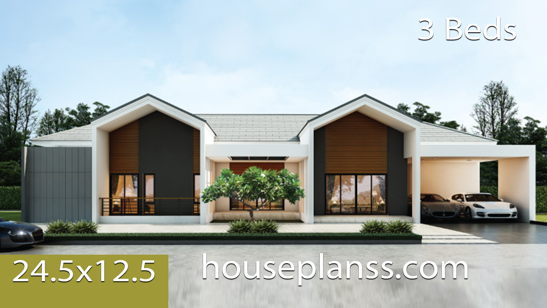 House design idea 24.5×12.5 with 3 bedrooms