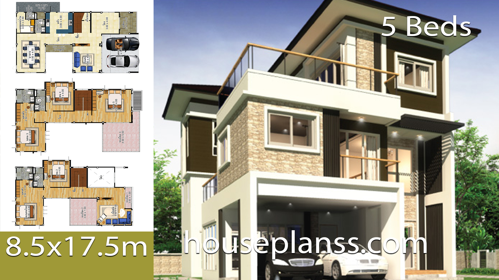House design idea 8.5×17.5 with 5 bedrooms