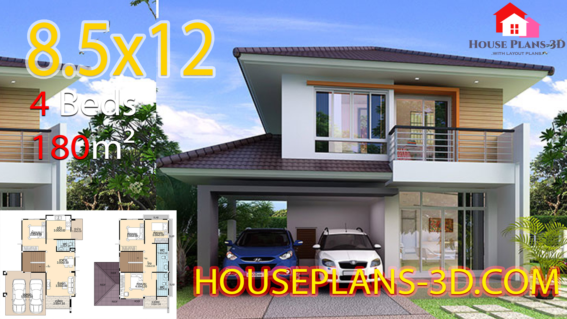 House plans 3d 8.5×12 with 4 bedrooms