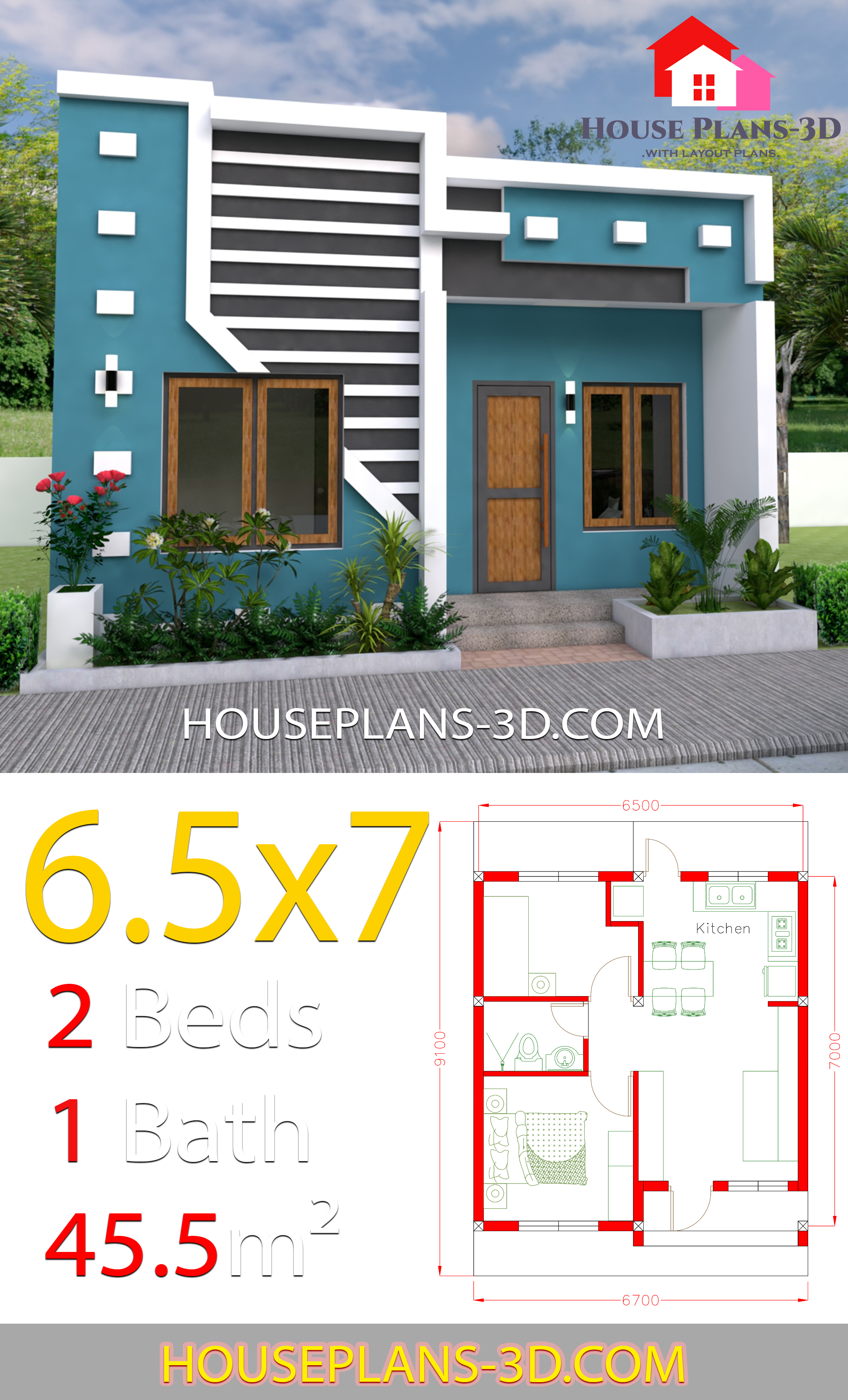 My 3d Room Design: Small House Design 6.5x7 With 2 Bedrooms Full Plans