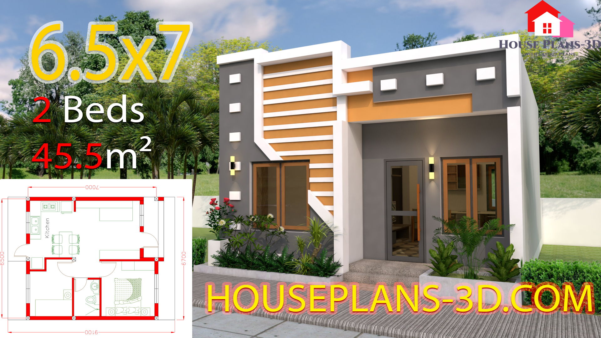 Small House Design 6.5x7 with 2 Bedrooms full plans - House Plans 3D