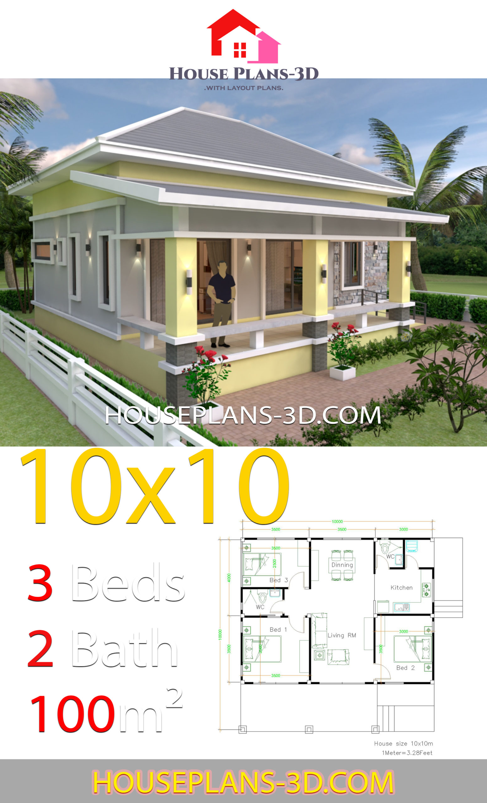 10x10 Bedroom Plans: House Design 10x10 With 3 Bedrooms Hip Roof