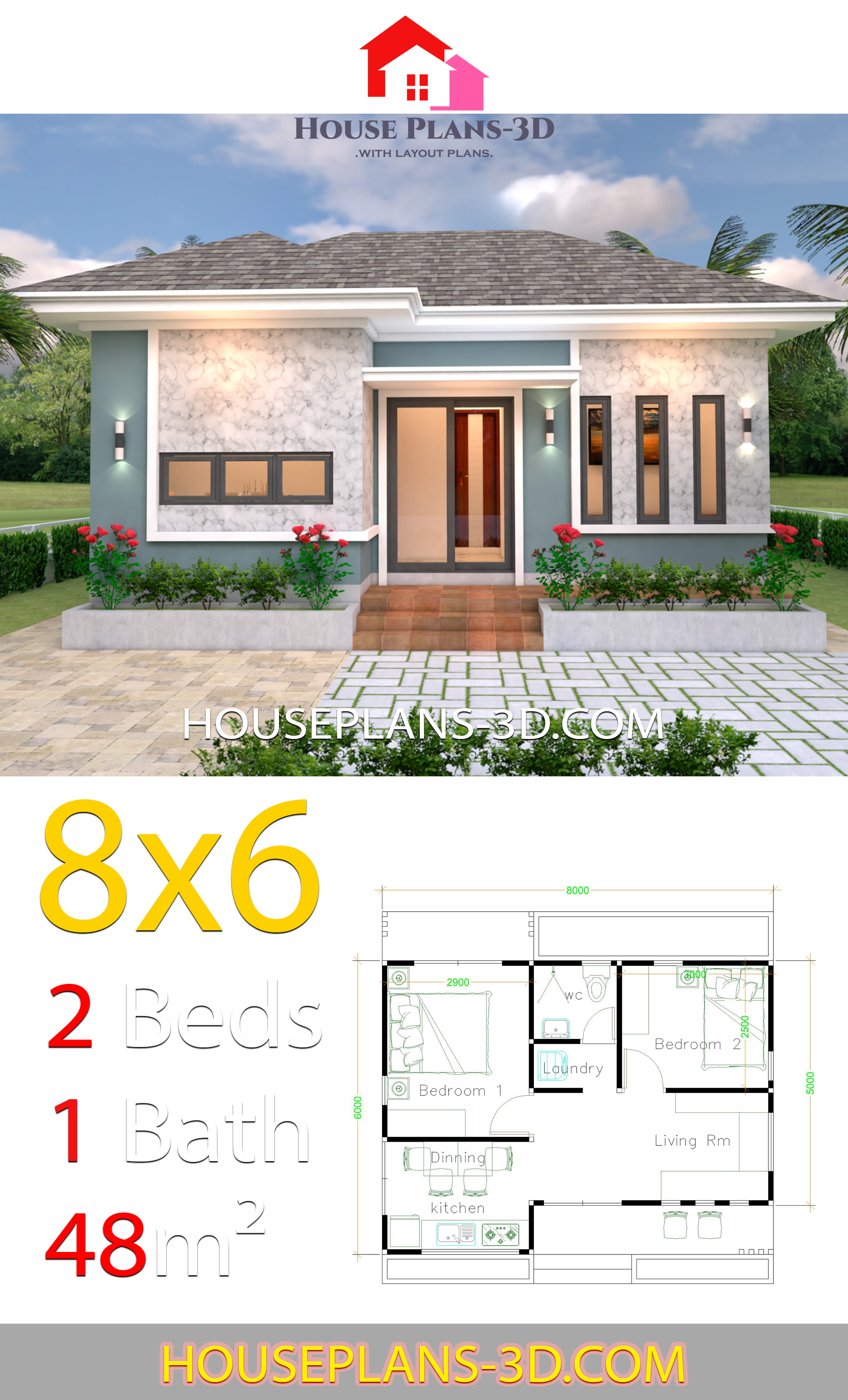 My 3d Room Design: House Plans 3d 8x6 With 2 Bedrooms Hip Roof