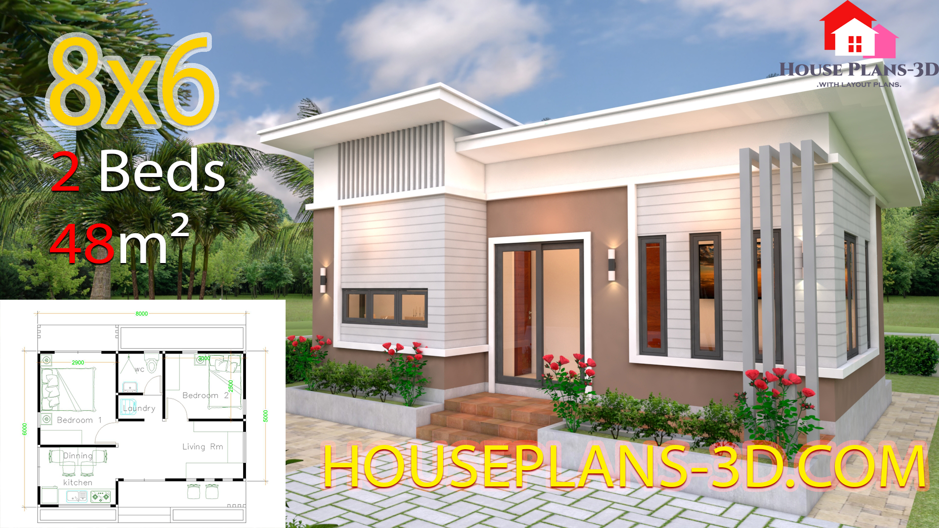 House Plans 8x6 with 2 Bedrooms Slope roof - House Plans 3D