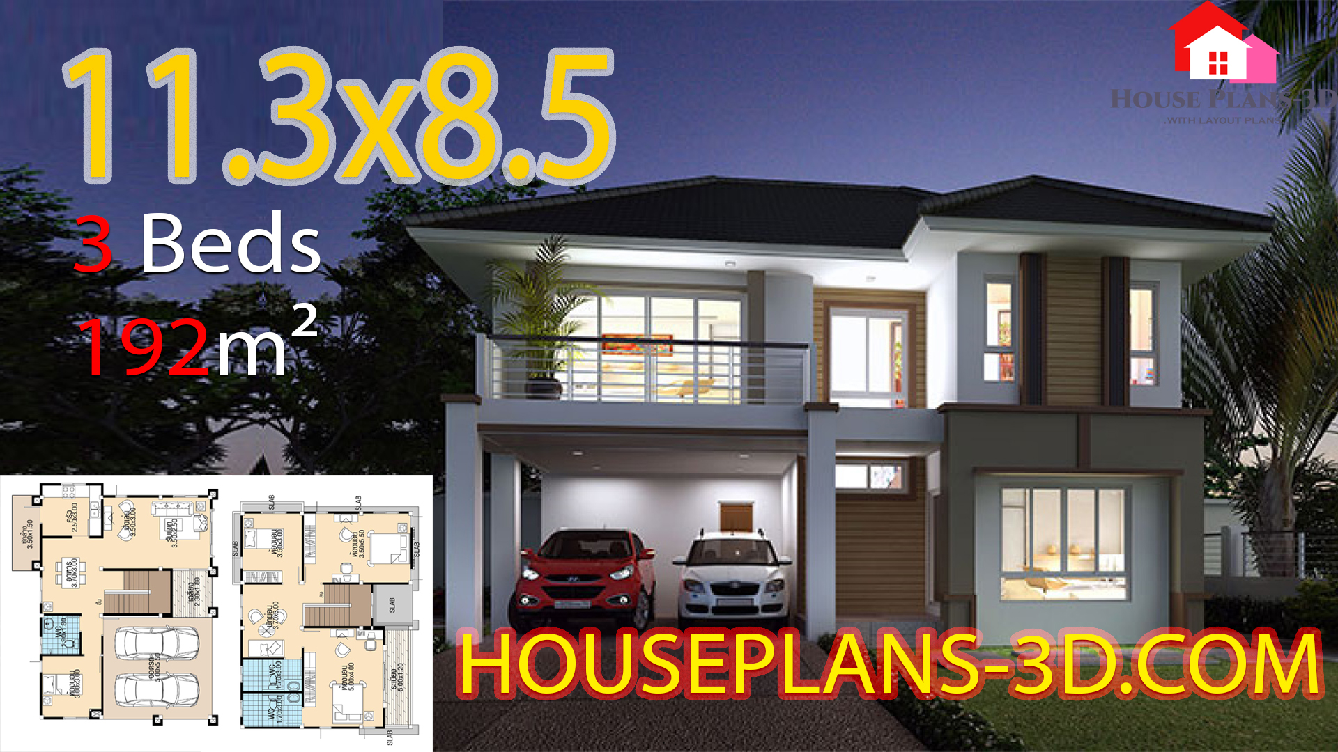 House design 11.3×8.5 with 4 Bedrooms