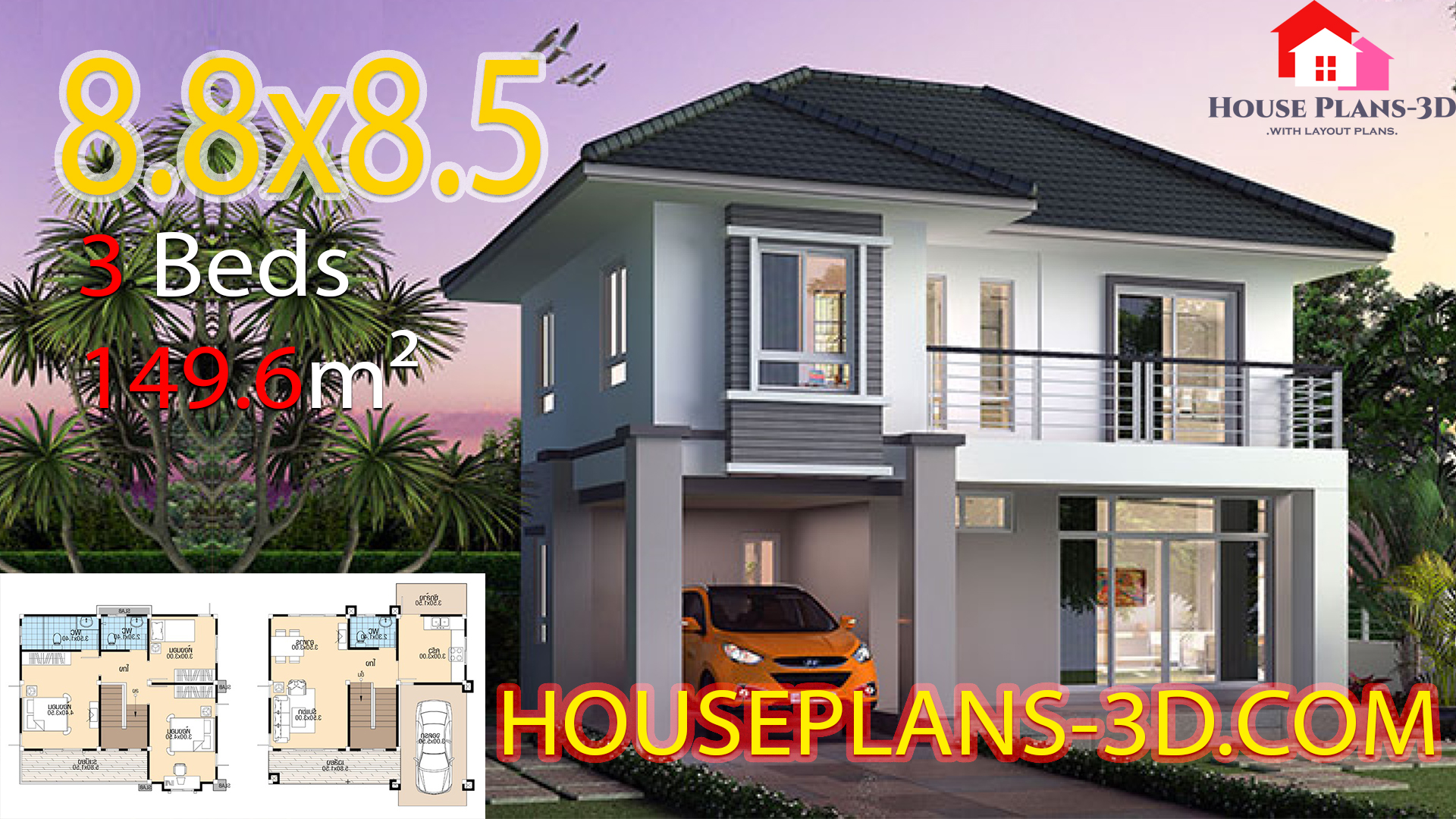 House design 8.8×8.5 with 3 Bedrooms