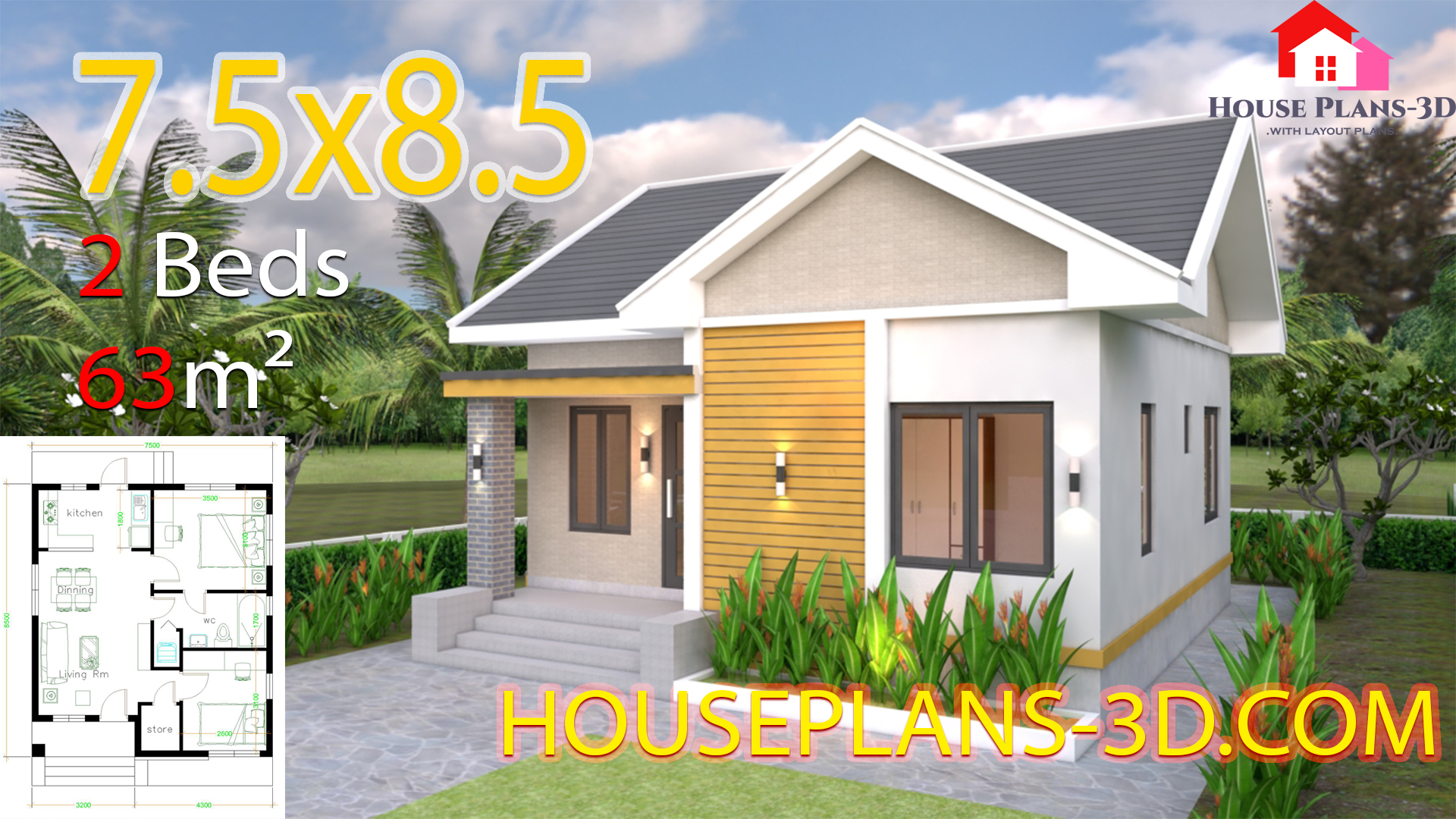 House plans 7.5x8.5m with 2 bedrooms Gable roof - House Plans 3D