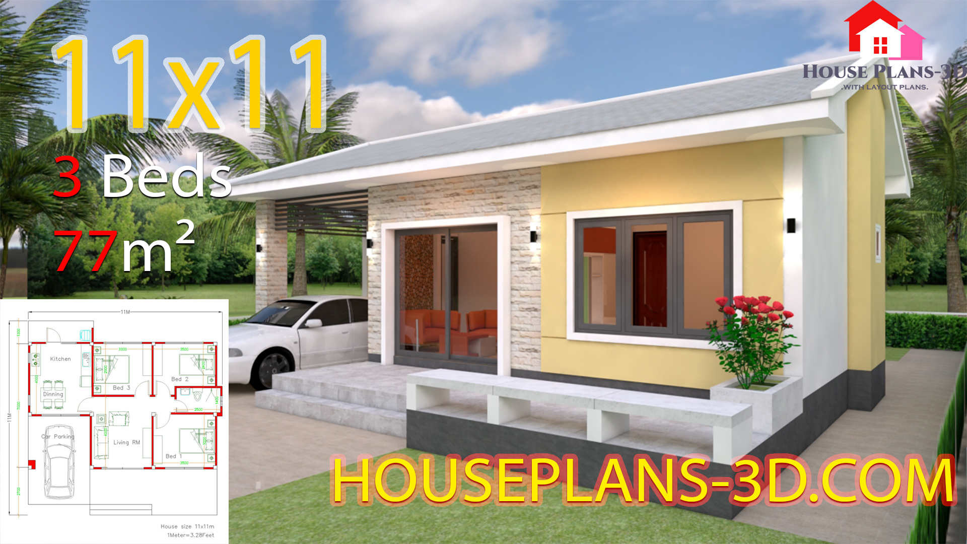 Simple House Design Plans 11x11 With 3 Bedrooms