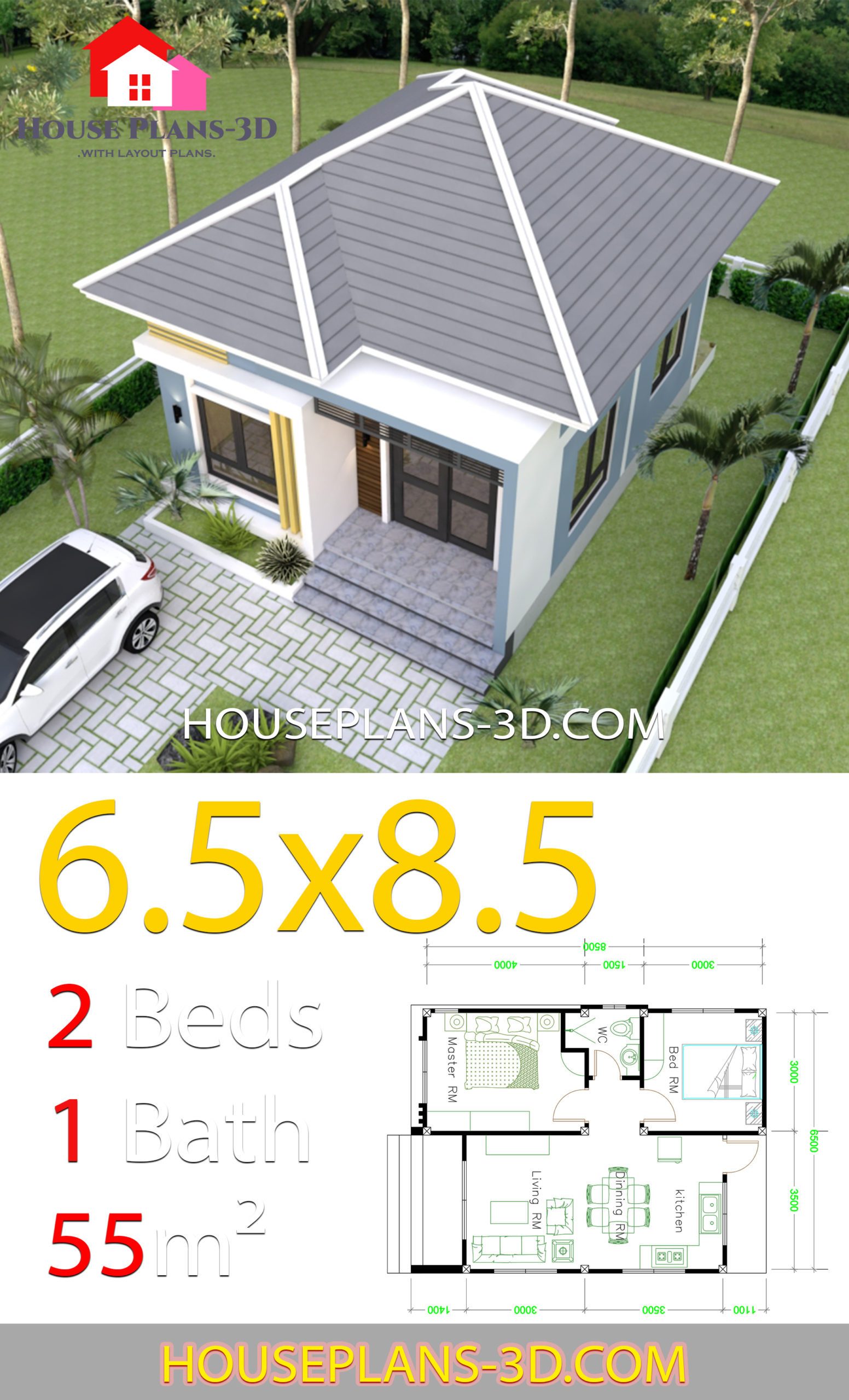 My 3d Room Design: Small House Design 6.5x8.5 With 2 Bedrooms Hip Roof