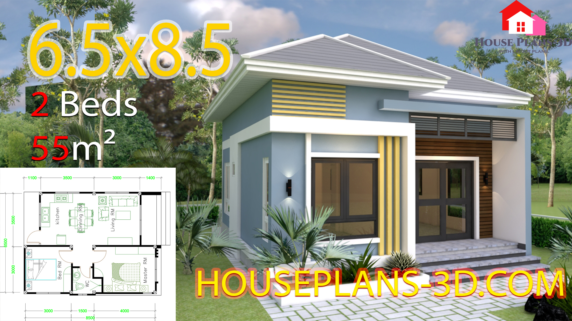 Small House Plans 6.5x8.5 with 2 Bedrooms Hip roof - View 2 Bedroom Simple Small House Design 3D Gif