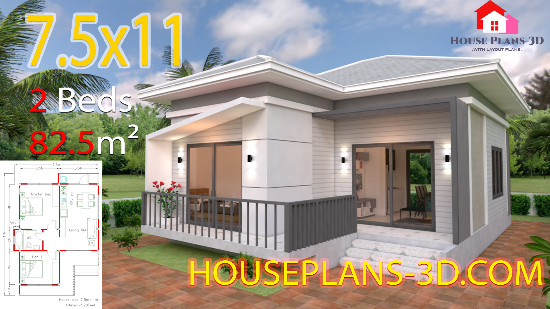 House Plans 7 5x11 With 2 Bedrooms Hip Roof House Plans 3d